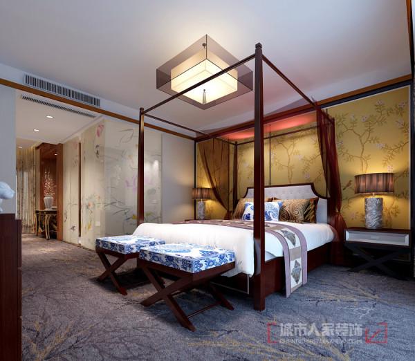 地面采用地毯,舒适、温馨;隔墙采用夹绢玻璃,提高卫生间的通透感,又有观赏性;床幔强化空间感,提高睡眠质量。