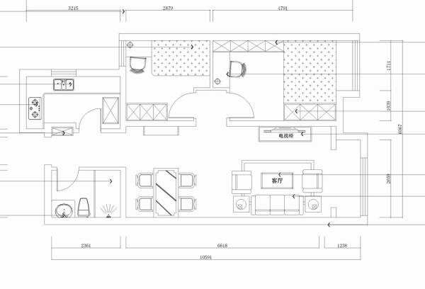 此户型是天津华侨城高层标准层C户型1室1厅1卫1厨 67.00㎡的房子,设计风格是中式风格。整个空间在造型上,以不同线条造型表现传统的中式风格