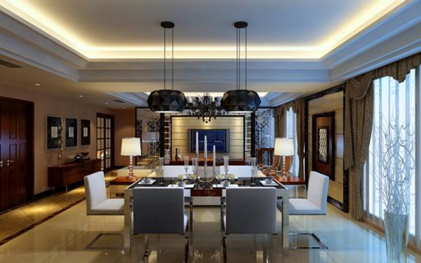 设计理念:白洞石上墙,跟客厅呼应,装饰效果很好,配合木头餐边柜。 亮点:天花45度的斜立面造型,立面效果分明的吊灯。