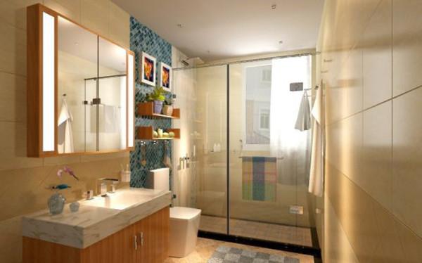 卫生间墙砖采用暖色墙砖,使得卫生间非常的温馨,配上纯色铝扣板使得空间不那么压抑