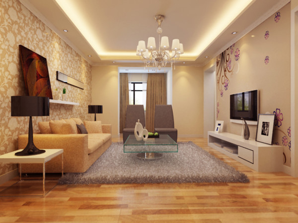 此方案为秀丽园两室两厅户型,风格为现代简约。