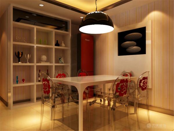 餐厅是家居生活的心脏,不仅要美观,更重要的实用性,整体性。墙面采用竖纹壁纸,体现时尚感,又考虑到利用了挂画设计,以及摆放古物的设计, 这个布局以实现特定需要的风格情调。