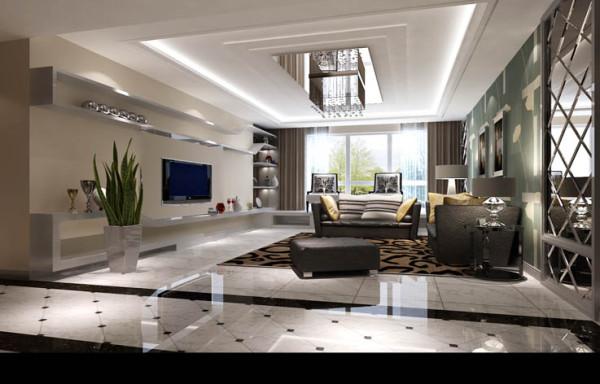 客厅电视背景墙与榻榻米台是整体的相连的造型,时尚大方。