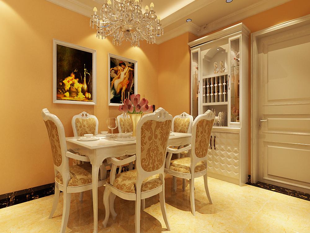 首页 装修效果图 设计的风格是简欧风格,客厅采用米黄色抛光砖,米黄色