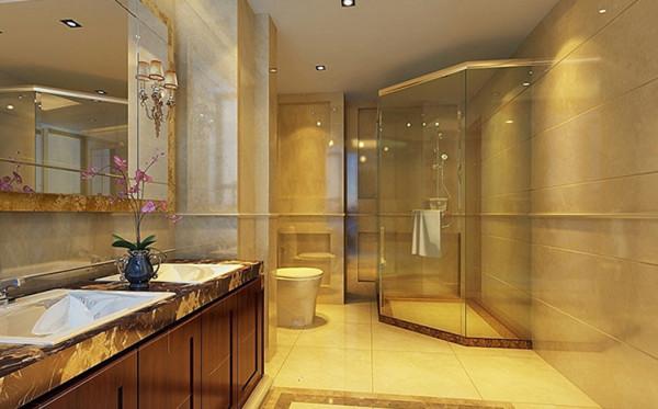 卫生间在保证实用至上的功能上采取地面拼花的形式与吊顶搭配的设计,使得空间尊贵至上。