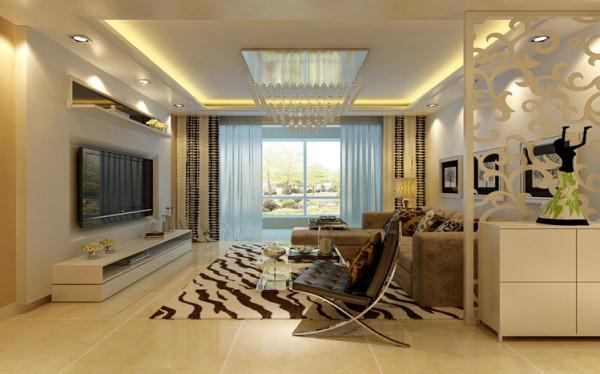 客厅现代风格的家具装饰,顶面造型将整个空间进行了空间的划分,以免出现不是一个整体的感觉。