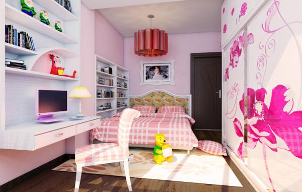 这是个小姑娘的房间,在取色上选择了女孩喜欢的淡粉色,浪费气息围绕这可爱的小公主,不论是学习还是休息都是个不错的选择