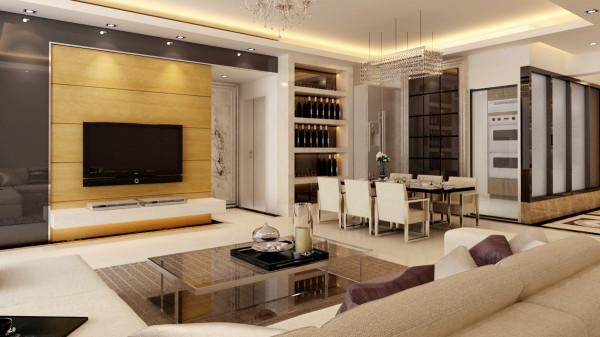 设计理念:客厅采用灰镜及石材来衬托出简约、时尚及温馨的风格。 设计亮点:客厅的背景墙运用灰镜与石材对比结合,从而产生一种材质的差异感。