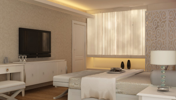 设计理念:全屋采用米黄色的色彩格调让人感觉淡雅温馨的感觉。 设计亮点:主卧墙面采用淡淡的雕花墙纸,与雕花屏风相呼应。
