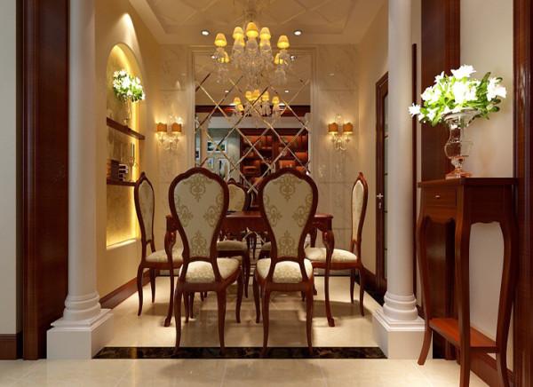 餐厅简单大气又不失奢华餐厅最大的亮点是菱形镜面的拼接与石材的搭配,是餐厅不失奢华之气。