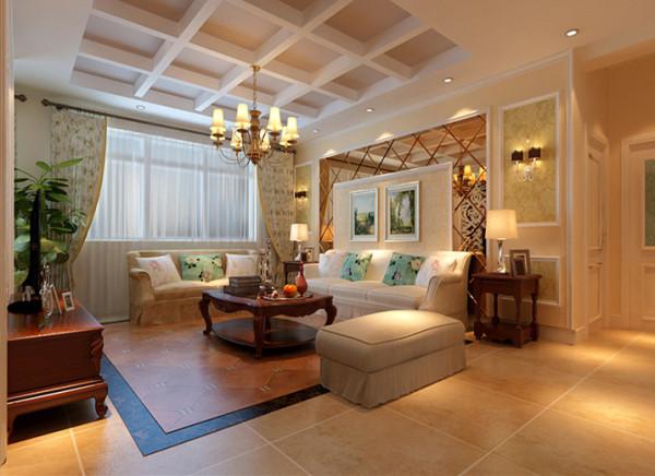 客厅沙发背景墙用茶色镜面玻璃与石膏线的结合,体现了室内的空间感。沙发以浅色碎花的布艺为主,配上红色的实木家具,颜色对比鲜明。坐起来舒适而不失欧洲风韵,颜色均较清雅,更能体现出起居室整体低调、奢华。