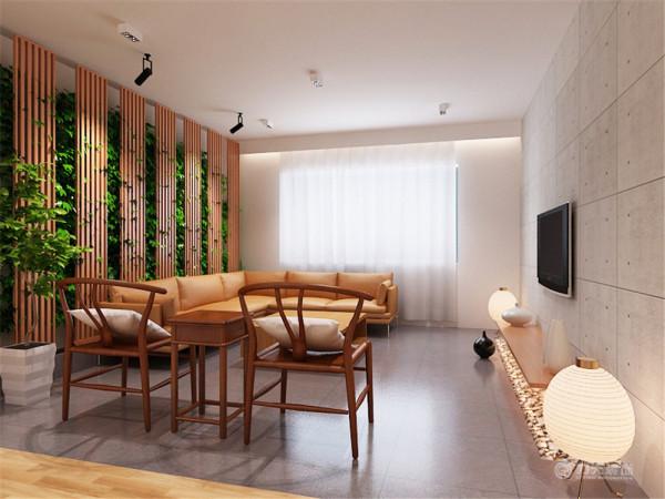 此案为新中风格,客户希望有一个自由轻松舒适的空间。在空间设计上利用客厅餐厅南北通透的基础,突出空间的纵深开阔。