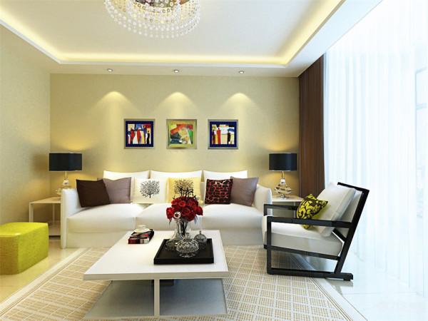 沙发上的靠垫选择了比较跳跃的颜色。适合白领一群居住,既大方又不失个性。沙发旁边配置的两个矮凳统一选择了比较跳跃的颜色。沙发背景墙的三幅图成为了整个的亮点。