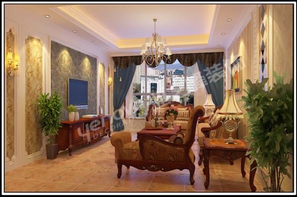 欧式家具与深色地砖相结合,形成了古典欧式风格的韵味线条复杂、色彩低沉,使整个客厅豪华大气。