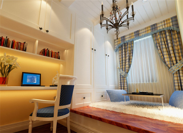 色彩鲜丽设计理念:书房的设计,设计师采用了榻榻米式的整天设计,这种设计的最大优点就是可以留出足够大的空间,作为休息闲聊区,同时又将整体的衣柜和书架放置进来,使书房变为办公休闲的两用场地。