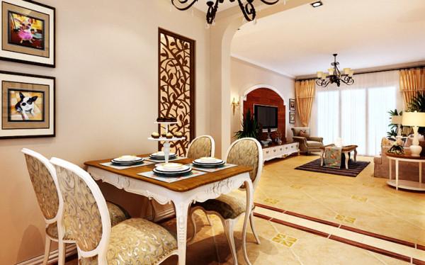 由于户型结构的特殊性,入户门一进门便是餐厅,在设计上既要满足摆放餐桌的足够空间,又要使一进门处不至于太单调乏味,特意将原结构改变,墙面拉长,但考虑采光的问题,将拉长的墙面设计成镂空花格的设计。