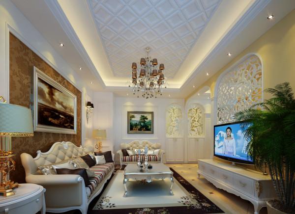 欧式客厅地面拨打线,墙面箱体板,在加上顶部大的水晶吊灯,集中大量的欧式元素。充满欧式氛围。