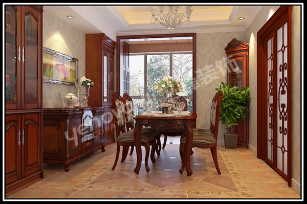 中式与欧式相结合的餐厅,大气沉稳,两种风格的精华元素结合在一起,是空间更加舒适。