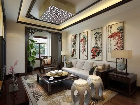 客厅沙发背景墙运用木质配合麻纸画作来搭配,用最简单的线条来诠释东方韵味