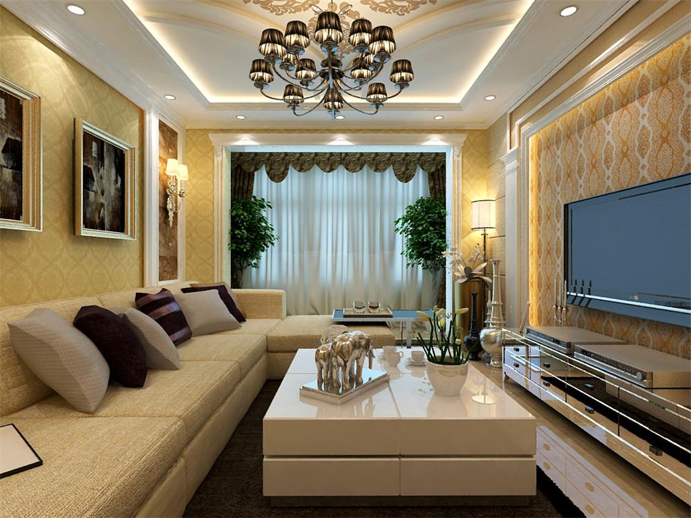 电视背景墙采用欧式典型的石膏线造型搭配罗马柱,内镶