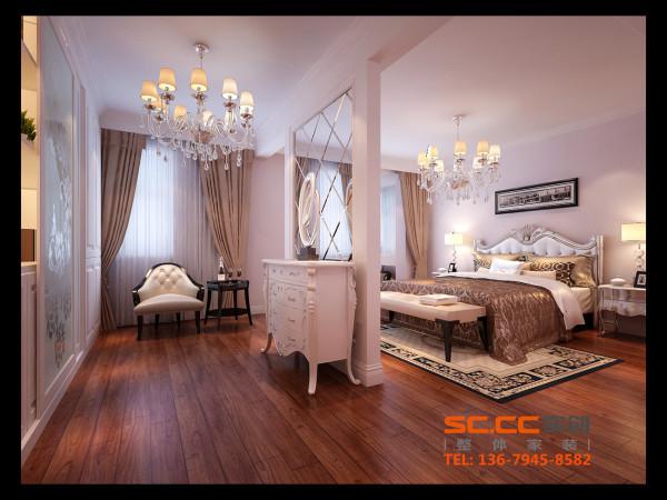 设计理念:巧妙地分隔空间,在主卧室分成两个区域,整体装饰的立面让卧室更显奢华