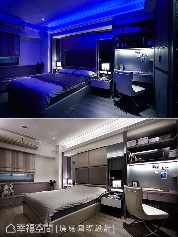 想要拥有夜店表情的弟弟房,灯光上透过多彩LED妆点切换氛围。