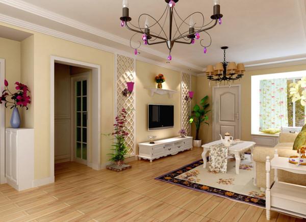 25平米欧式田园客厅设计理念:客厅连着阳台空间光线都不错,所以储物学习会客休闲等功能有机的结合在一起.