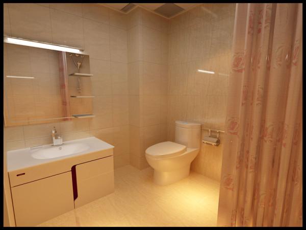 卫生间的空间相对来说空间更合理些,但因为没有单独的采光窗,所以在墙地砖的选择上,多以浅色为主。