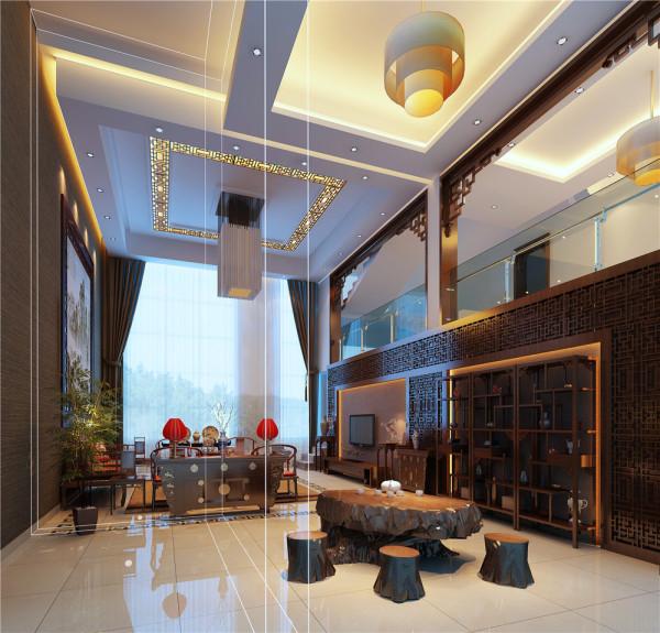 客厅地面大理石拼花,置入突出的中式古典电视柜体,让现代科技在中式风格中的出场,并不显得突兀。柜体旁刻意挖空,中式桌几、摆饰,让空间意蕴深厚却能深入浅出,令人眼前一亮。