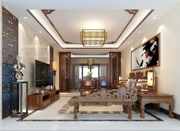 设计理念:客厅是传统与现代居室风格的碰撞,设计师以现代的装饰手法和家具,结合古典中式的装饰元素,来呈现亦古亦今的空间氛围。中式风格的古色古香与现代风格的简单素雅自然衔接,