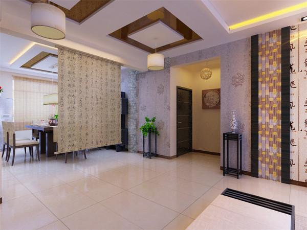 客厅及餐厅简约、稳重,采用板式家具,即有中式色彩又有现代风格。保留了中式应有的木质材质及色彩,并且加入了茶镜等现代元素,使整个空间现代与中式完美结合。