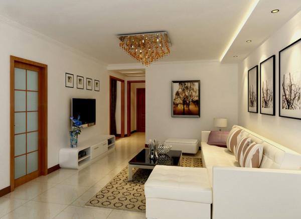 现代简约客厅设计理念: 现代简洁,运用大量的直线条,客厅光线不好所以色调以浅色为主.