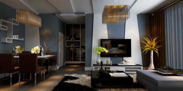 正商蓝海港湾130平方三室两厅装修案例-客餐厅装修效果图