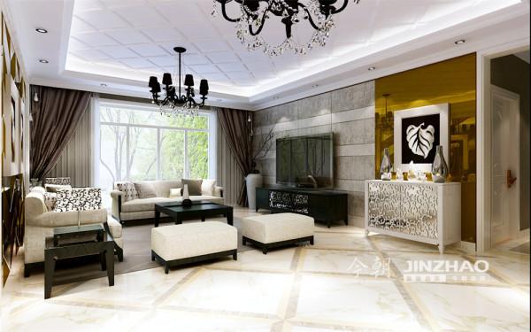 港式风格的装修中,客厅的以黄色为主调,展现一个休闲的氛围,电视墙处理相当简洁而富品味,色调古旧的电视柜是客厅的焦点所在