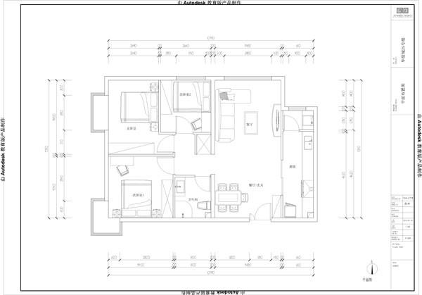 华贸城25#C3 三居户型案例分析——平面布置图