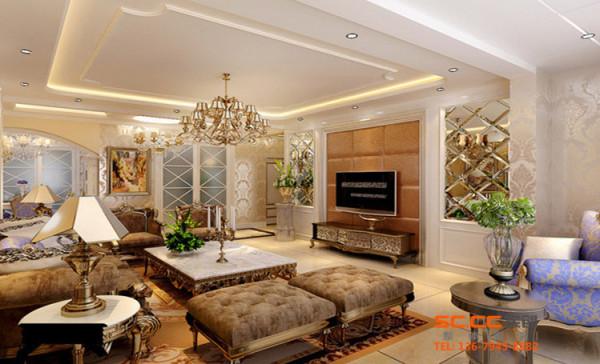 客厅管从布局到整体都给人一种精致的印象,客厅采用壁纸多为金箔颜色,电视背景墙采用软包及车边境。