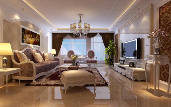 绿城百合四室两厅两卫180平方装修案例-客厅欧式装修效果图