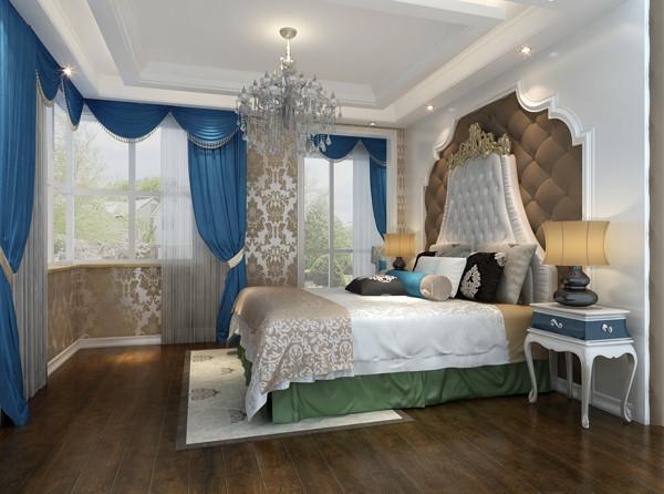以白色调为主,床头背景的软包跟地板同色,天蓝色的窗帘有蓝天的明亮,居住的轻松,惬意,舒适。