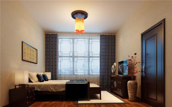 次卧也使用镜面加大空间,漂流木与开放式橱柜的红色壁面,也明白示意出新中国风的设计。