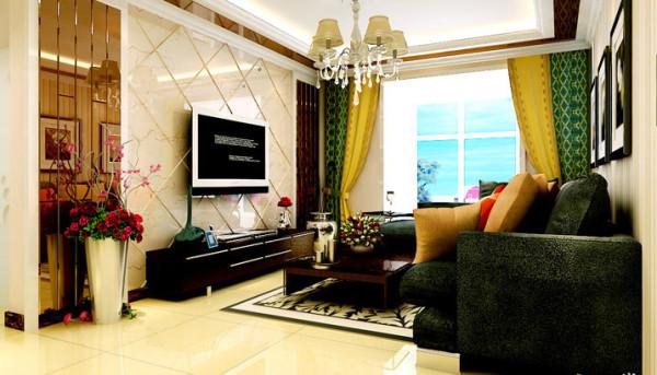 米色斜铺的电视背景,咖色的镜面的造型,使空间层次分明。顶面的造型与电视墙衔接相呼应,整个空间彰显出个性与时尚。电视墙两侧的茶镜,搭配深木色的家具,避免单调。