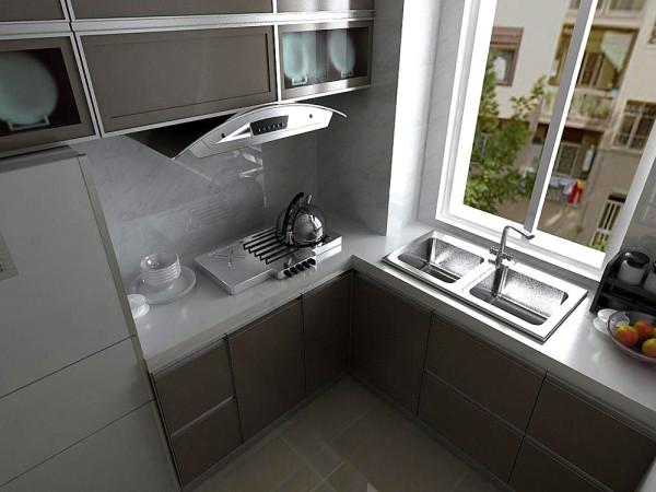 厨房的空间不是特别的大,所以在瓷砖和橱柜柜板颜色的选择上更多的考虑如何增加视觉空间。