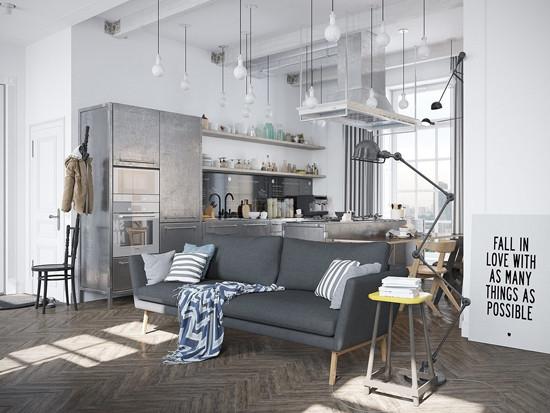 灰色的沙发搭配灰色柜子和家居整体感十足。简约的装饰风格非常时尚。以多个小灯为照明装饰,个性十足。