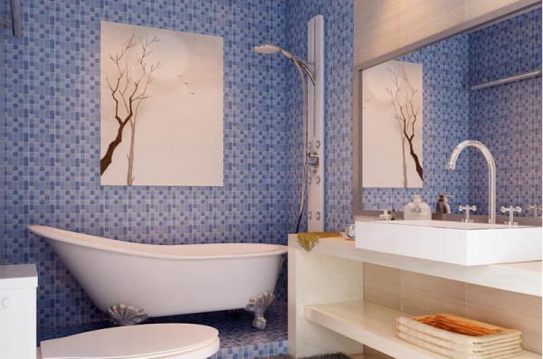 卫生间以蓝色和白色为主,洁具及其它卫生设备造型简洁,颜色多用白色和蓝色,清新干净