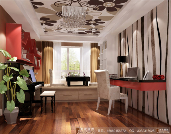 红树湾书房细节效果图-成都高度国际装饰