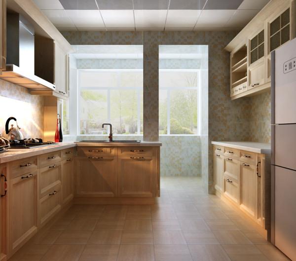 厨房属于二次采光,橱柜做成分体式。同时整体用浅色系橱柜。