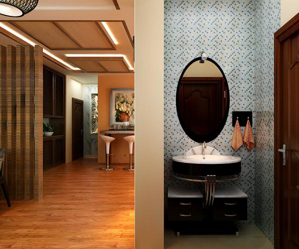 浴室柜装在卫生间外,方便使用的同事也节省洗手间的空间。