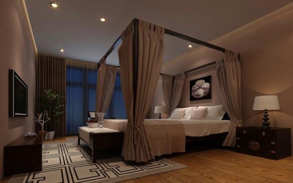 木地板,中式床头柜,床幔的配合,极具艺术气息。