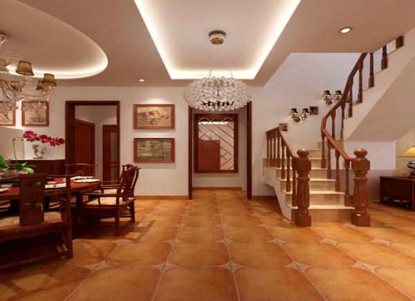 门厅过渡的呼应天圆地方的构思,客厅与餐厅的交接处,为了更好的让二者融合。门厅方形的吊顶加强了与餐客厅的呼应,又与餐厅的圆顶产生了对比。进门前的装饰镜加强了空间的通透感。