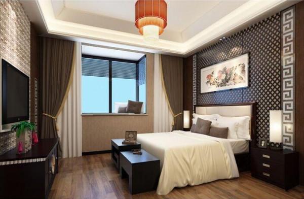 父母房,床头定制菱形实木花格,与回纹线条结合,显得格外庄重大气图片