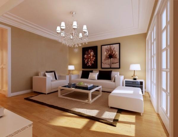 客厅在材料的运用中主要选择米白色、灰色、雅灰色,素色涂料搭配褐色地板,来营造素调现代的时尚、利索的气质。